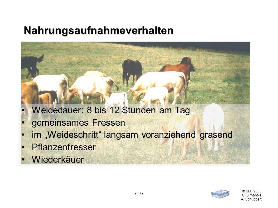 9 / 72 © BLE 2003 C. Simantke A. Schubbert Nahrungsaufnahmeverhalten Weidedauer: 8 bis 12 Stunden am Tag gemeinsames Fressen im Weideschritt langsam v