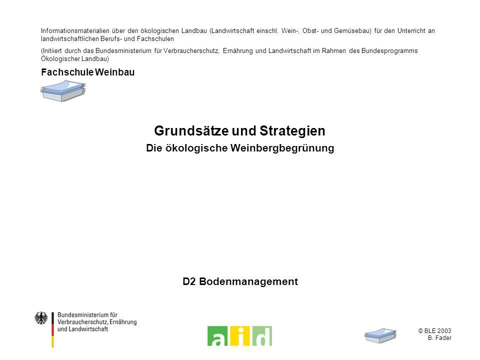 © BLE 2003 B. Fader D2 Bodenmanagement Grundsätze und Strategien Die ökologische Weinbergbegrünung Informationsmaterialien über den ökologischen Landb