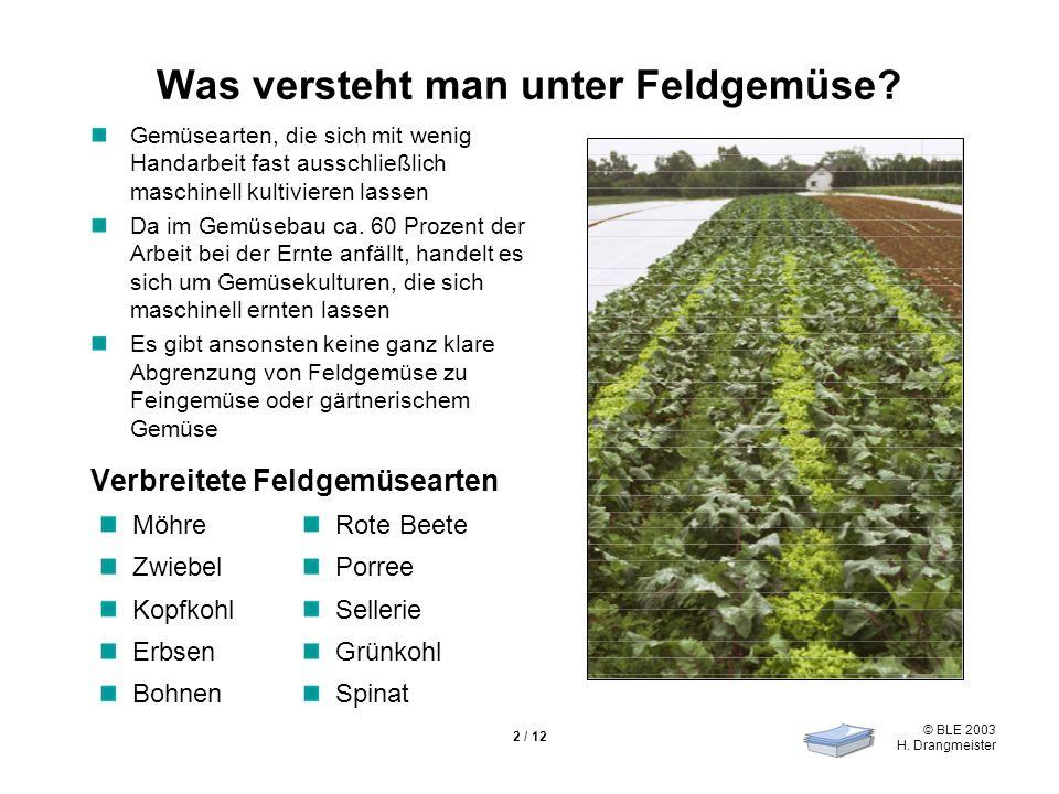 © BLE 2003 H. Drangmeister 2 / 12 Was versteht man unter Feldgemüse? Gemüsearten, die sich mit wenig Handarbeit fast ausschließlich maschinell kultivi