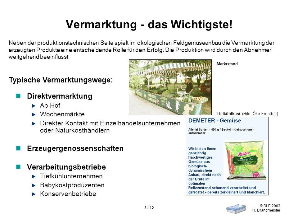 © BLE 2003 H. Drangmeister 3 / 12 Vermarktung - das Wichtigste! Direktvermarktung Ab Hof Wochenmärkte Direkter Kontakt mit Einzelhandelsunternehmen od