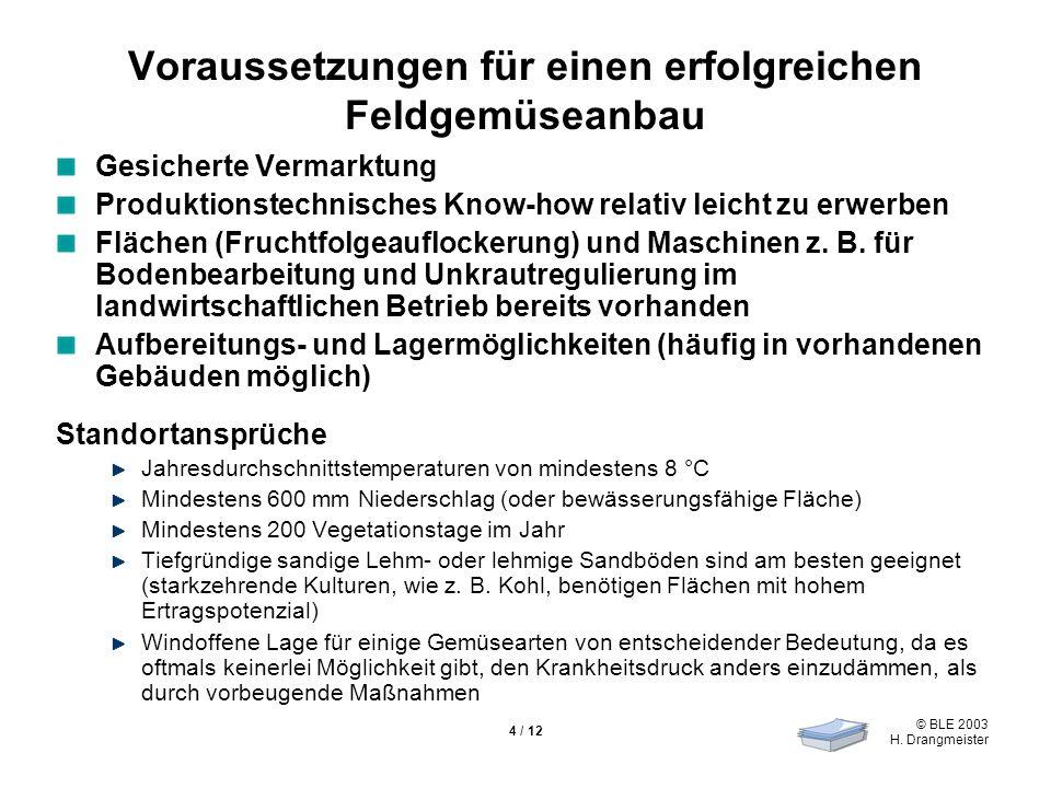 © BLE 2003 H. Drangmeister 4 / 12 Voraussetzungen für einen erfolgreichen Feldgemüseanbau Gesicherte Vermarktung Produktionstechnisches Know-how relat
