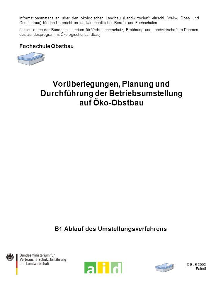© BLE 2003 Feindt B1 Ablauf des Umstellungsverfahrens Vorüberlegungen, Planung und Durchführung der Betriebsumstellung auf Öko-Obstbau Informationsmaterialien über den ökologischen Landbau (Landwirtschaft einschl.