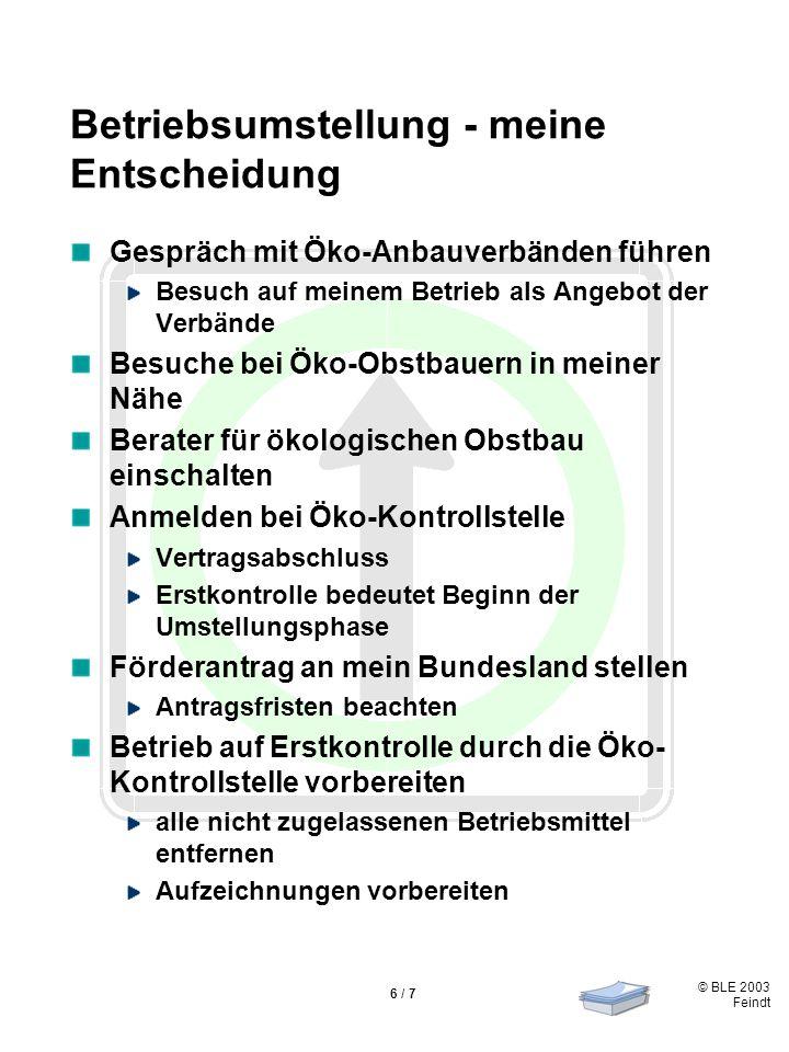 © BLE 2003 Feindt 6 / 7 Betriebsumstellung - meine Entscheidung Gespräch mit Öko-Anbauverbänden führen Besuch auf meinem Betrieb als Angebot der Verbände Besuche bei Öko-Obstbauern in meiner Nähe Berater für ökologischen Obstbau einschalten Anmelden bei Öko-Kontrollstelle Vertragsabschluss Erstkontrolle bedeutet Beginn der Umstellungsphase Förderantrag an mein Bundesland stellen Antragsfristen beachten Betrieb auf Erstkontrolle durch die Öko- Kontrollstelle vorbereiten alle nicht zugelassenen Betriebsmittel entfernen Aufzeichnungen vorbereiten