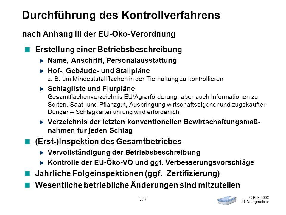 © BLE 2003 H. Drangmeister 5 / 7 Durchführung des Kontrollverfahrens nach Anhang III der EU-Öko-Verordnung Erstellung einer Betriebsbeschreibung Name,