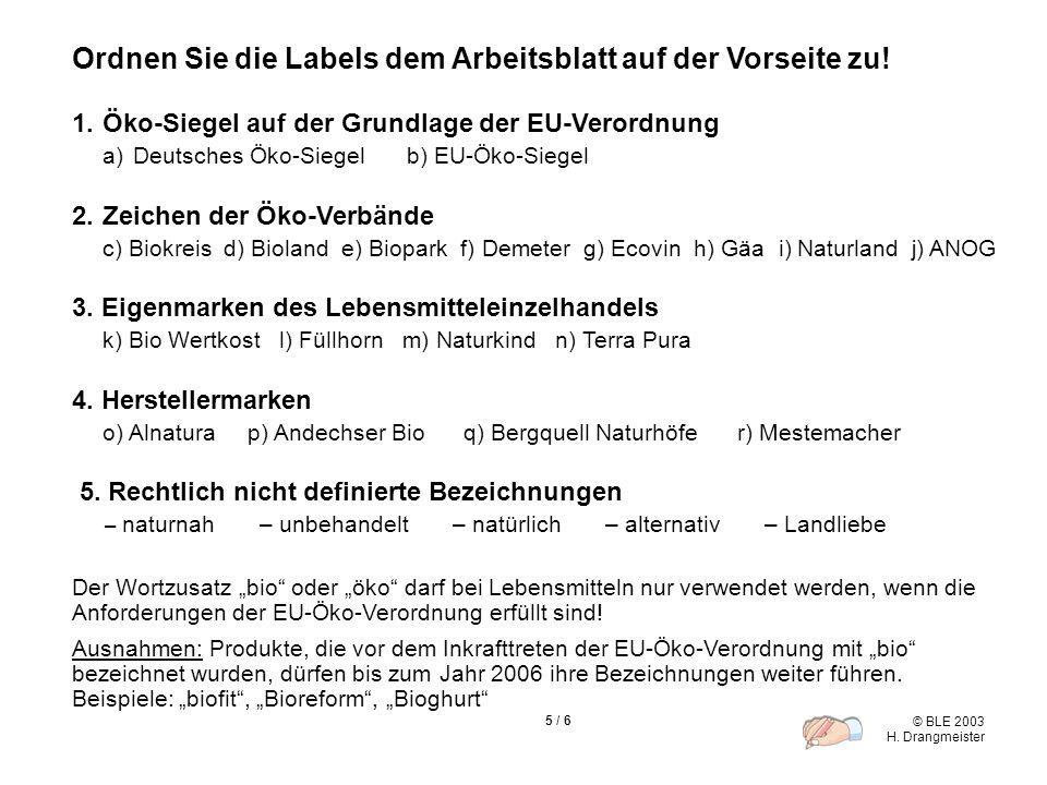 © BLE 2003 H. Drangmeister 5 / 6 1.Öko-Siegel auf der Grundlage der EU-Verordnung a)Deutsches Öko-Siegel b) EU-Öko-Siegel 2.Zeichen der Öko-Verbände c