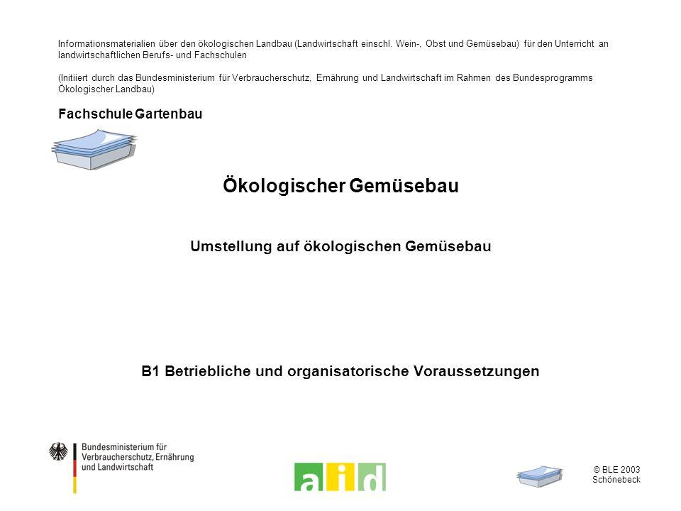 © BLE 2003 Schönebeck 2 / 11 Analyse der Ausgangssituation Beweggründe zur Umstellung, Risikobereitschaft Flächenausstattung, Bodenzustände Gebäude und Maschinen Arbeitskräfte für Produktion und Vermarktung Vermarktung von Ökogemüse Betriebskapital, Liquidität