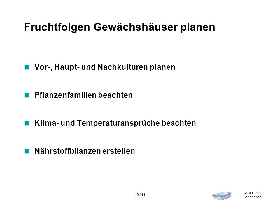 © BLE 2003 Schönebeck 10 / 11 Fruchtfolgen Gewächshäuser planen Vor-, Haupt- und Nachkulturen planen Pflanzenfamilien beachten Klima- und Temperaturan