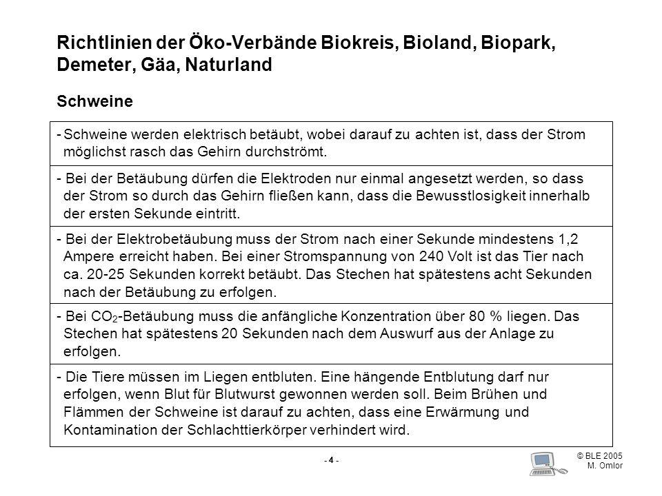© BLE 2005 M. Omlor - 4 - Richtlinien der Öko-Verbände Biokreis, Bioland, Biopark, Demeter, Gäa, Naturland Schweine -Schweine werden elektrisch betäub