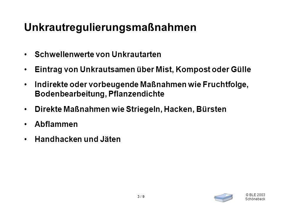 © BLE 2003 Schönebeck 3 / 9 Unkrautregulierungsmaßnahmen Schwellenwerte von Unkrautarten Eintrag von Unkrautsamen über Mist, Kompost oder Gülle Indire