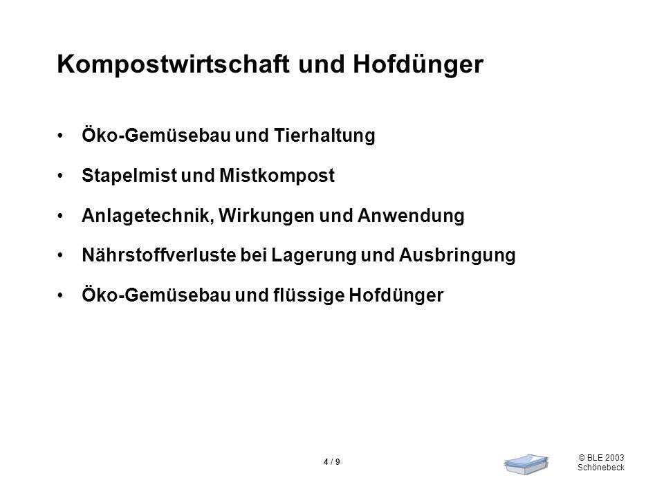 © BLE 2003 Schönebeck 4 / 9 Kompostwirtschaft und Hofdünger Öko-Gemüsebau und Tierhaltung Stapelmist und Mistkompost Anlagetechnik, Wirkungen und Anwe