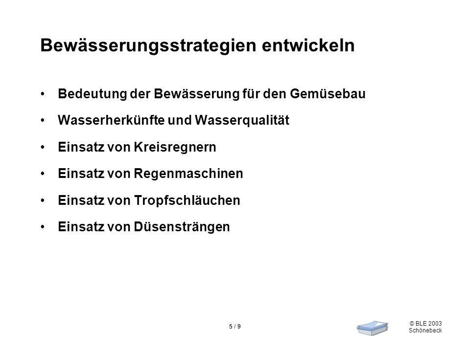 © BLE 2003 Schönebeck 5 / 9 Bewässerungsstrategien entwickeln Bedeutung der Bewässerung für den Gemüsebau Wasserherkünfte und Wasserqualität Einsatz v