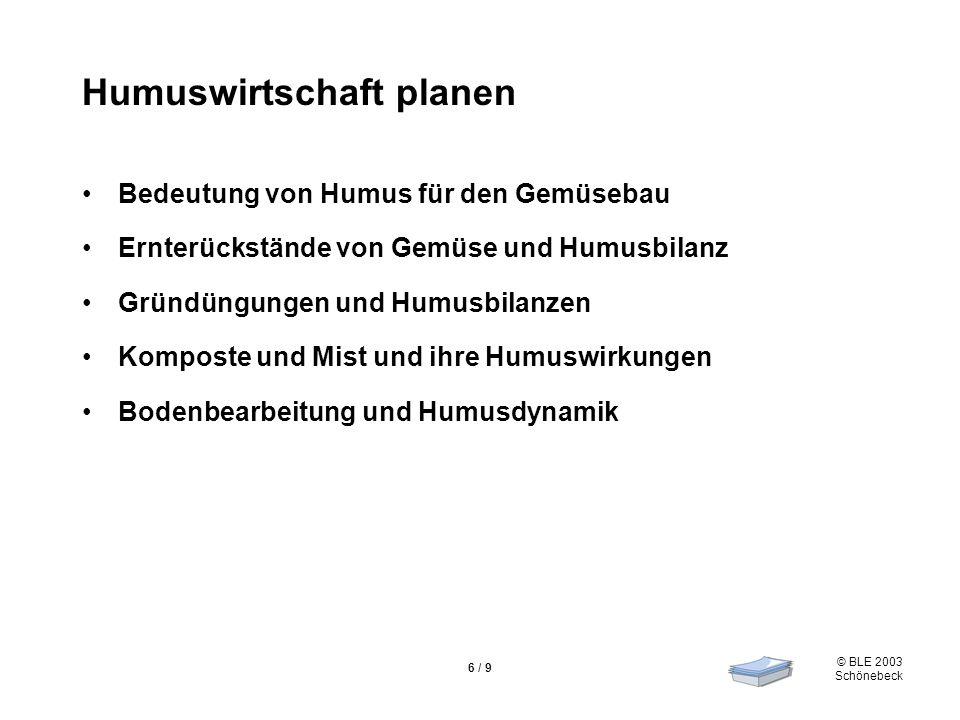 © BLE 2003 Schönebeck 6 / 9 Humuswirtschaft planen Bedeutung von Humus für den Gemüsebau Ernterückstände von Gemüse und Humusbilanz Gründüngungen und