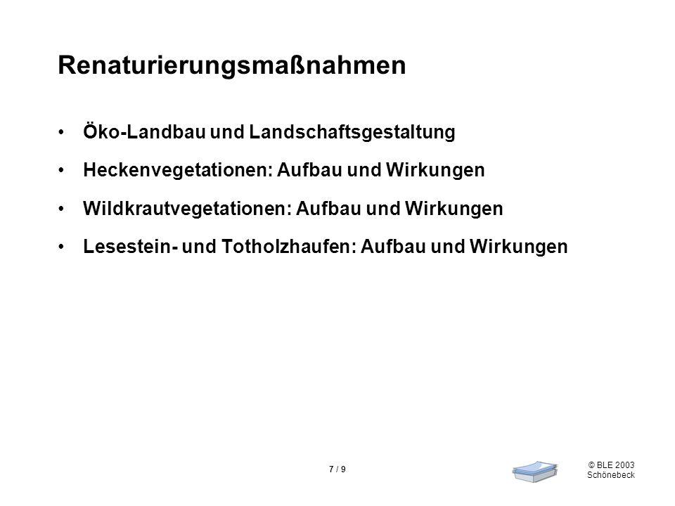 © BLE 2003 Schönebeck 7 / 9 Renaturierungsmaßnahmen Öko-Landbau und Landschaftsgestaltung Heckenvegetationen: Aufbau und Wirkungen Wildkrautvegetation