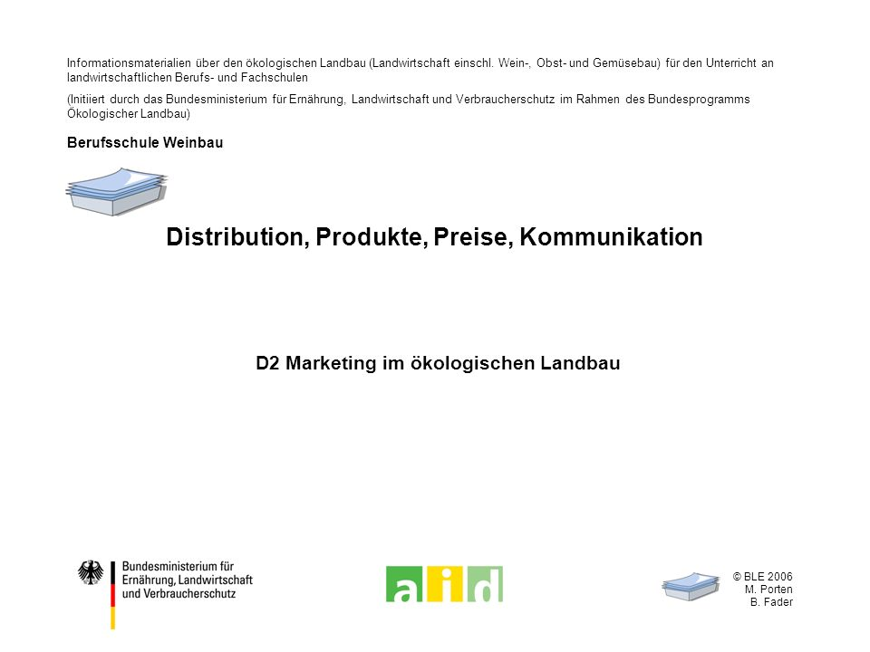 © BLE 2006 M. Porten B. Fader Distribution, Produkte, Preise, Kommunikation D2 Marketing im ökologischen Landbau Informationsmaterialien über den ökol