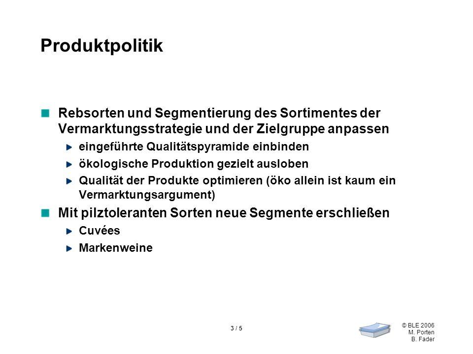 © BLE 2006 M. Porten B. Fader 3 / 5 Produktpolitik Rebsorten und Segmentierung des Sortimentes der Vermarktungsstrategie und der Zielgruppe anpassen e