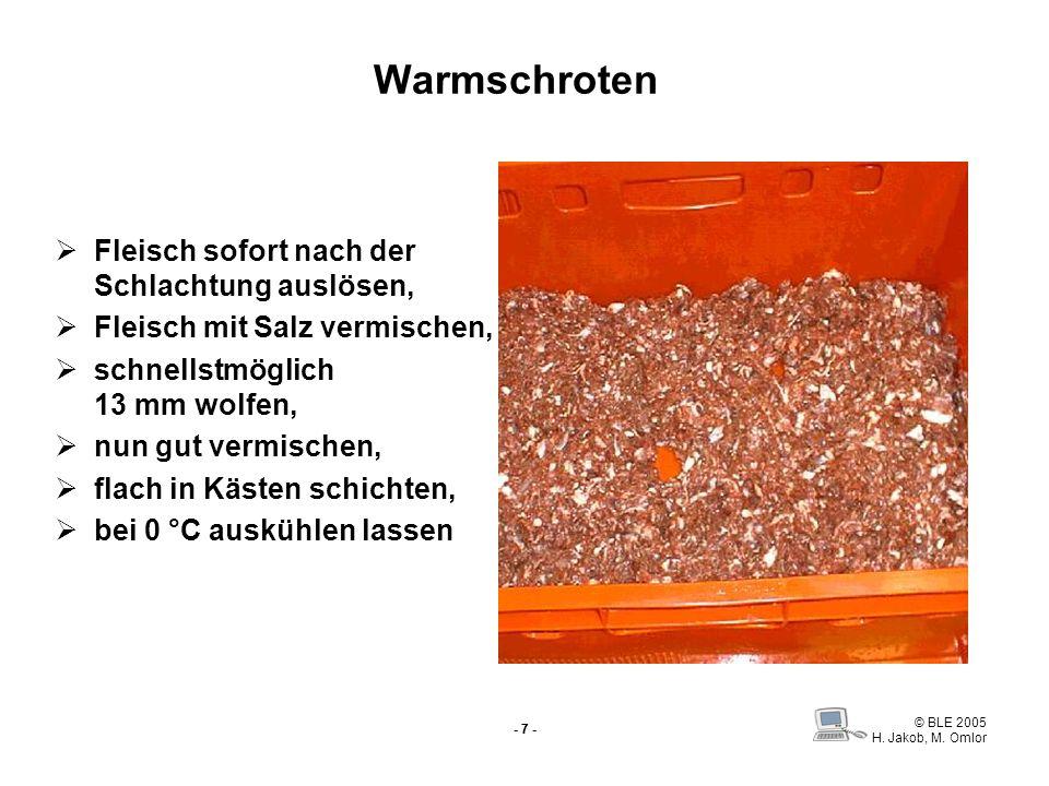 © BLE 2005 H. Jakob, M. Omlor - 7 - Warmschroten Fleisch sofort nach der Schlachtung auslösen, Fleisch mit Salz vermischen, schnellstmöglich 13 mm wol
