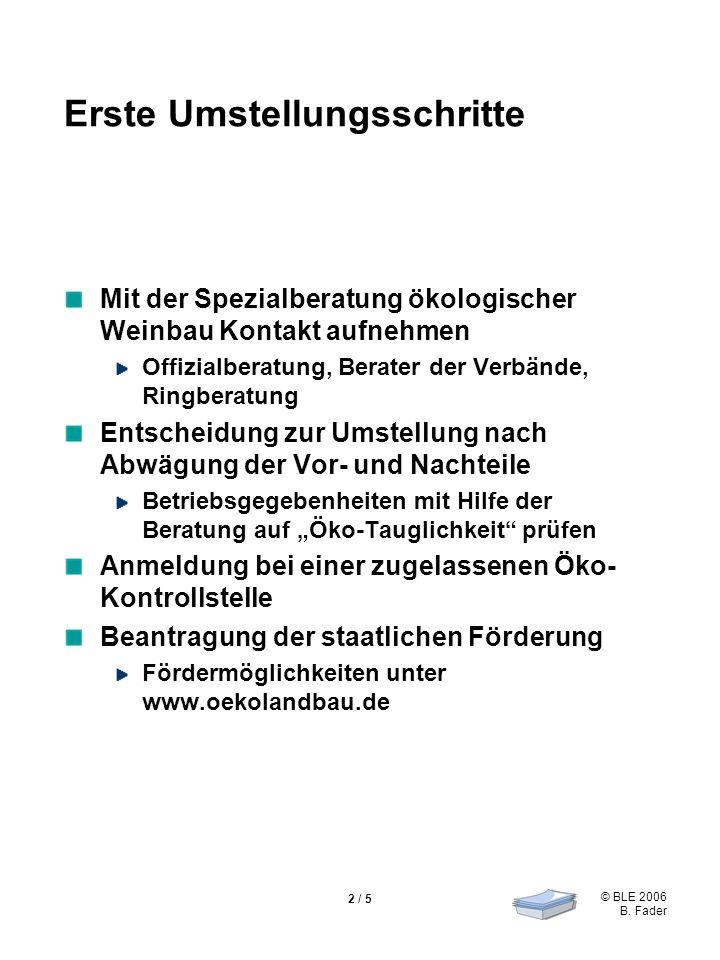 © BLE 2006 B.Fader 3 / 5 Weitere Schritte zur Umstellung Regionale Ökowinzer (z.