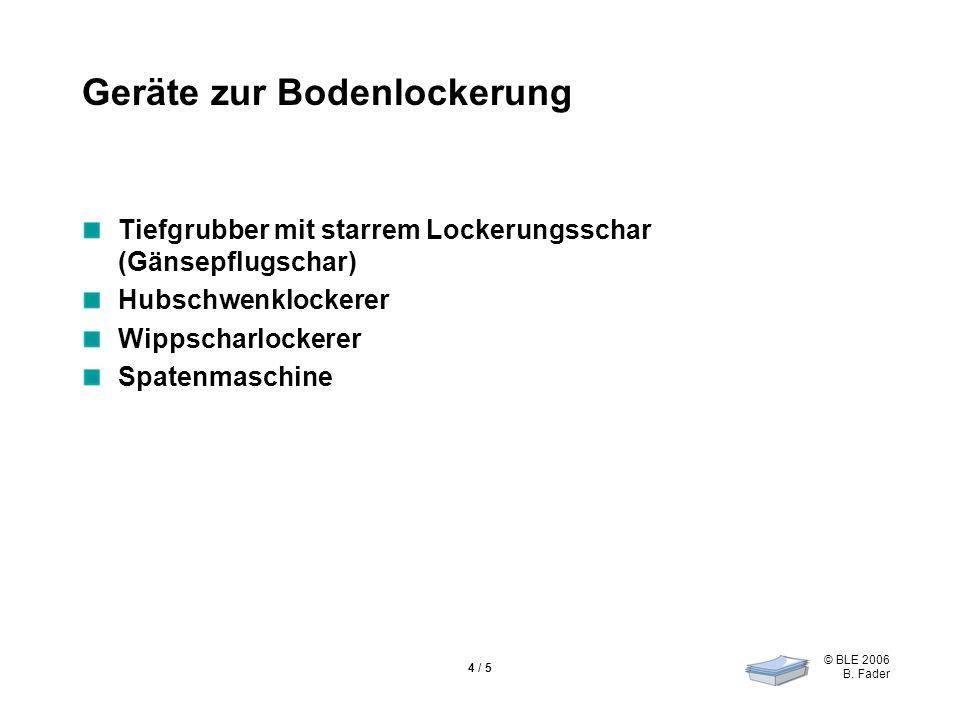 © BLE 2006 B. Fader 4 / 5 Geräte zur Bodenlockerung Tiefgrubber mit starrem Lockerungsschar (Gänsepflugschar) Hubschwenklockerer Wippscharlockerer Spa
