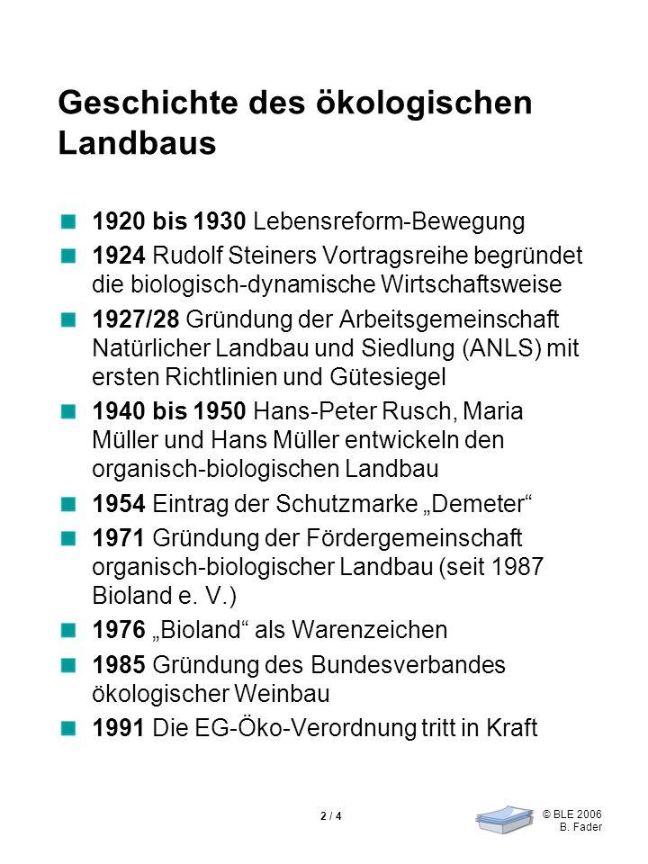 © BLE 2006 B. Fader 2 / 4 Geschichte des ökologischen Landbaus 1920 bis 1930 Lebensreform-Bewegung 1924 Rudolf Steiners Vortragsreihe begründet die bi