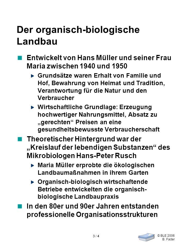 © BLE 2006 B. Fader 3 / 4 Der organisch-biologische Landbau Entwickelt von Hans Müller und seiner Frau Maria zwischen 1940 und 1950 Grundsätze waren E