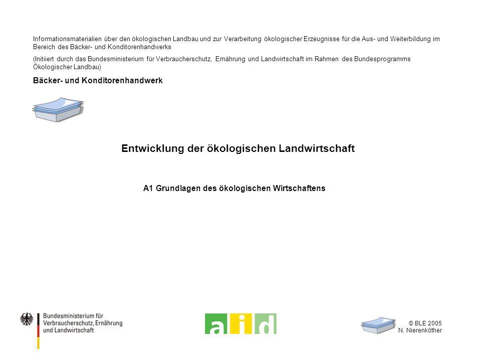 © BLE 2005 N. Nierenköther Entwicklung der ökologischen Landwirtschaft A1 Grundlagen des ökologischen Wirtschaftens Informationsmaterialien über den ö