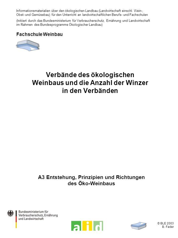© BLE 2003 B. Fader A3 Entstehung, Prinzipien und Richtungen des Öko-Weinbaus Verbände des ökologischen Weinbaus und die Anzahl der Winzer in den Verb