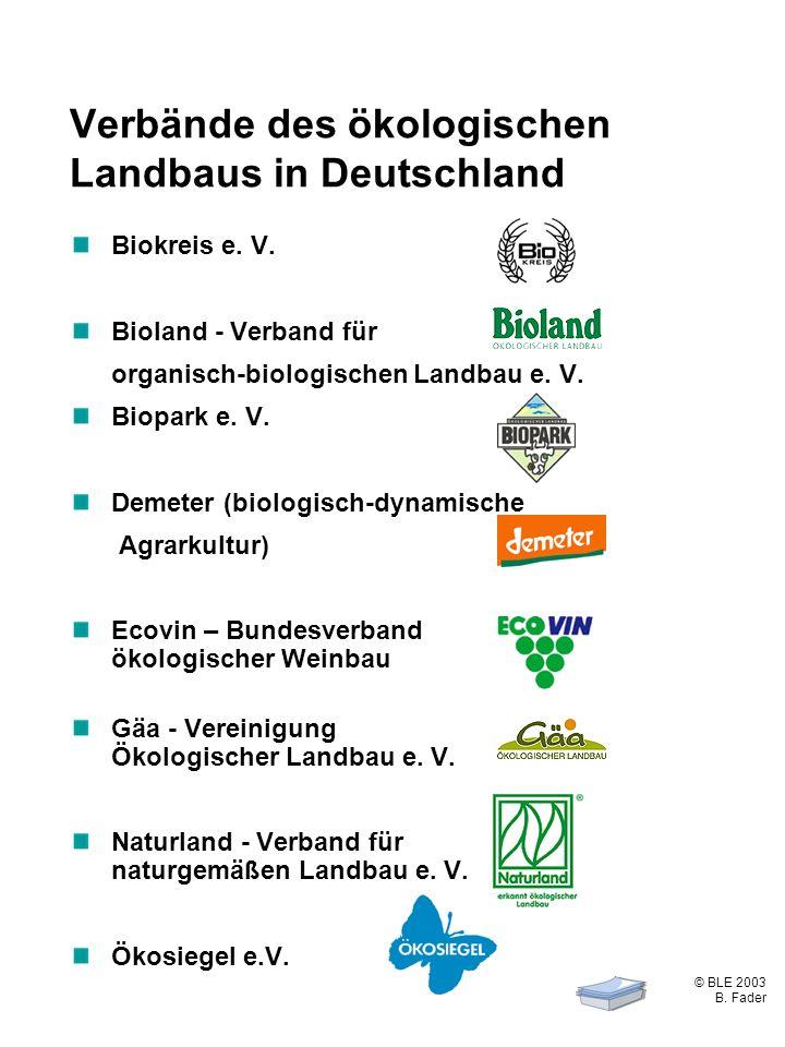 © BLE 2003 B. Fader 2 / 4 Verbände des ökologischen Landbaus in Deutschland Biokreis e. V. Bioland - Verband für organisch-biologischen Landbau e. V.