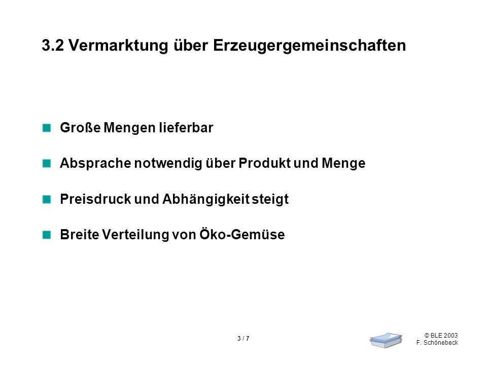 © BLE 2003 F. Schönebeck 3 / 7 3.2 Vermarktung über Erzeugergemeinschaften Große Mengen lieferbar Absprache notwendig über Produkt und Menge Preisdruc