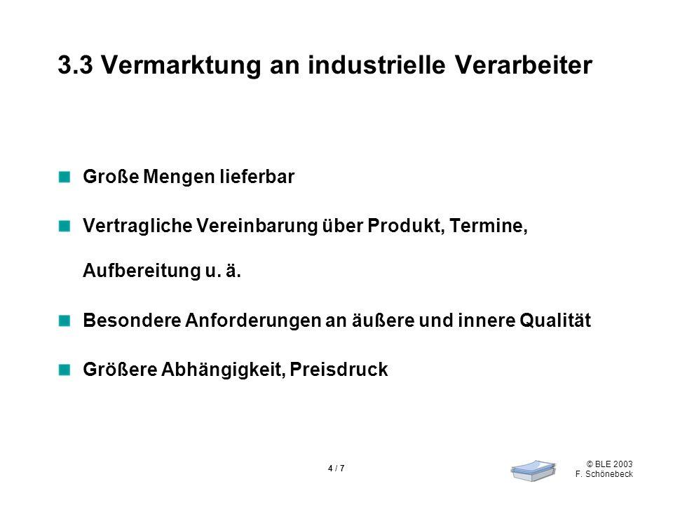© BLE 2003 F. Schönebeck 4 / 7 3.3 Vermarktung an industrielle Verarbeiter Große Mengen lieferbar Vertragliche Vereinbarung über Produkt, Termine, Auf