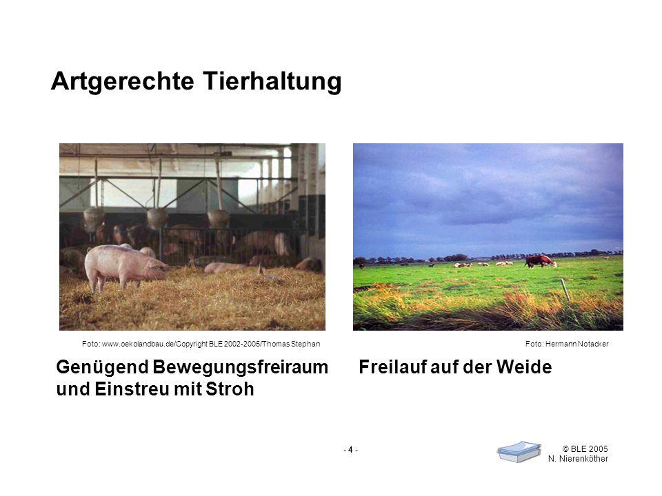 - 4 - © BLE 2005 N. Nierenköther Artgerechte Tierhaltung Genügend Bewegungsfreiraum und Einstreu mit Stroh Freilauf auf der Weide Foto: Hermann Notack