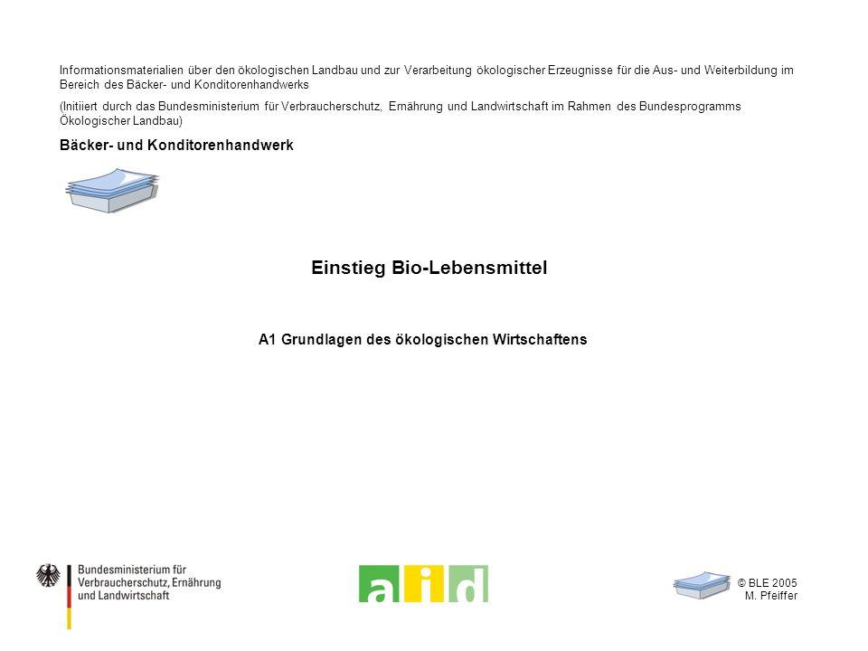 © BLE 2005 M. Pfeiffer Einstieg Bio-Lebensmittel A1 Grundlagen des ökologischen Wirtschaftens Informationsmaterialien über den ökologischen Landbau un