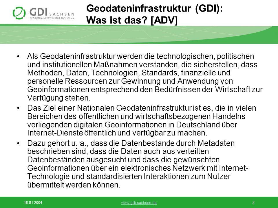 16.01.2004www.gdi-sachsen.de3 Grundsätzliche Ziele des GDI-Sachsen e.V.