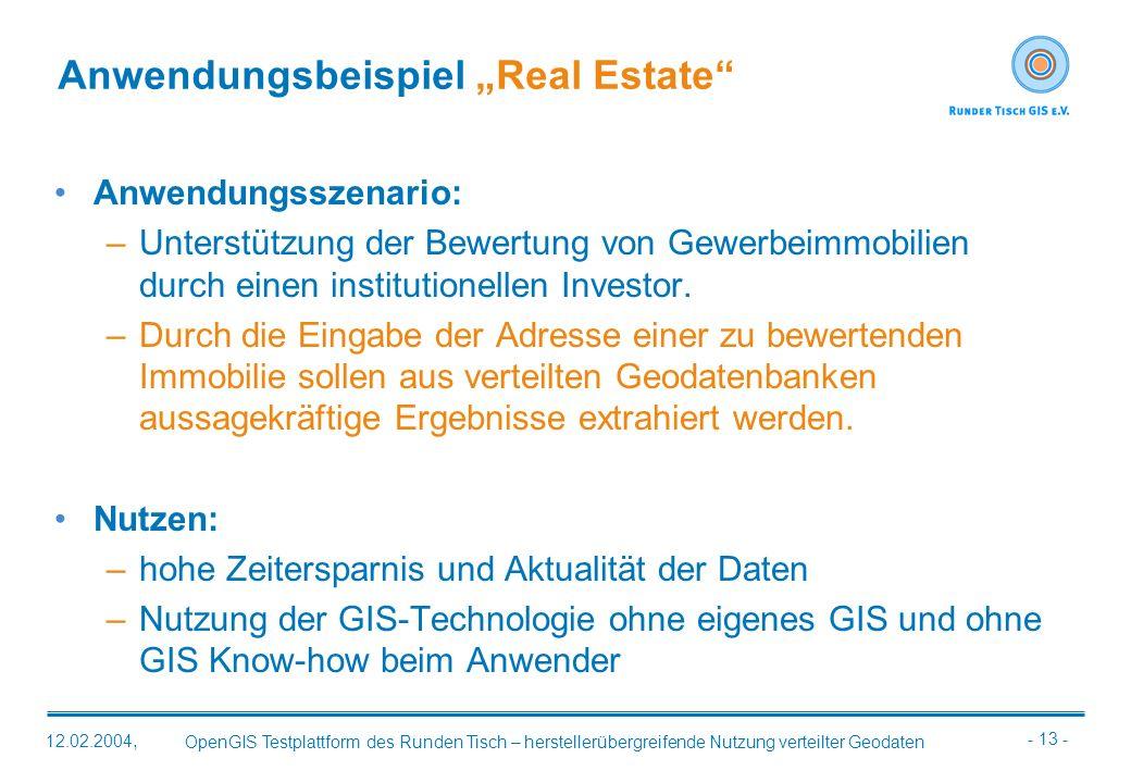 - 13 - OpenGIS Testplattform des Runden Tisch – herstellerübergreifende Nutzung verteilter Geodaten 12.02.2004, Anwendungsbeispiel Real Estate Anwendu