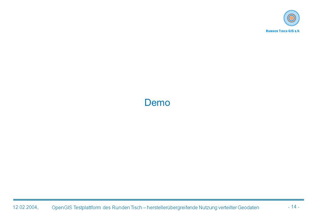 - 14 - OpenGIS Testplattform des Runden Tisch – herstellerübergreifende Nutzung verteilter Geodaten 12.02.2004, Demo
