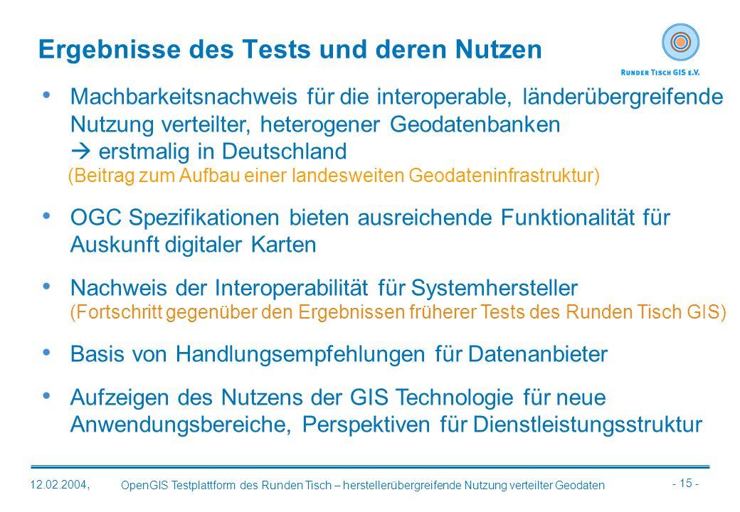 - 15 - OpenGIS Testplattform des Runden Tisch – herstellerübergreifende Nutzung verteilter Geodaten 12.02.2004, Ergebnisse des Tests und deren Nutzen