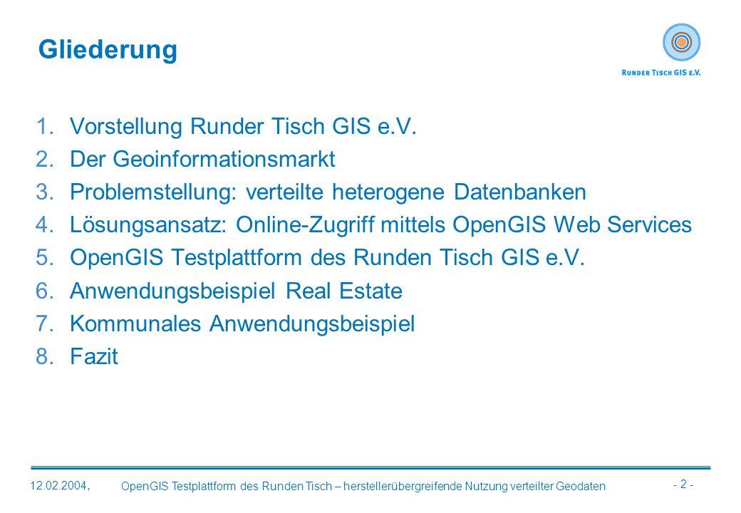 - 2 - OpenGIS Testplattform des Runden Tisch – herstellerübergreifende Nutzung verteilter Geodaten 12.02.2004, Gliederung 1.Vorstellung Runder Tisch G