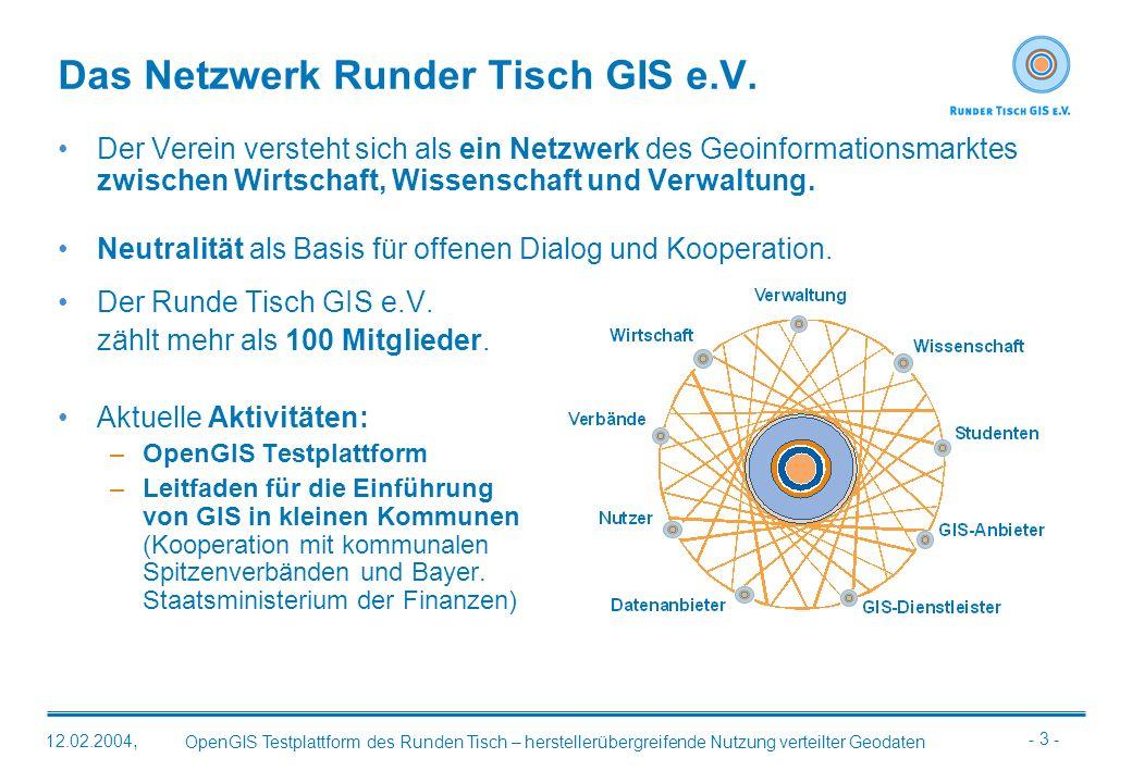 - 3 - OpenGIS Testplattform des Runden Tisch – herstellerübergreifende Nutzung verteilter Geodaten 12.02.2004, Das Netzwerk Runder Tisch GIS e.V. Der