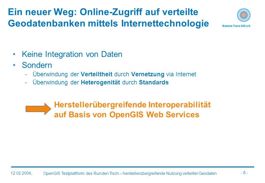- 6 - OpenGIS Testplattform des Runden Tisch – herstellerübergreifende Nutzung verteilter Geodaten 12.02.2004, Ein neuer Weg: Online-Zugriff auf verte