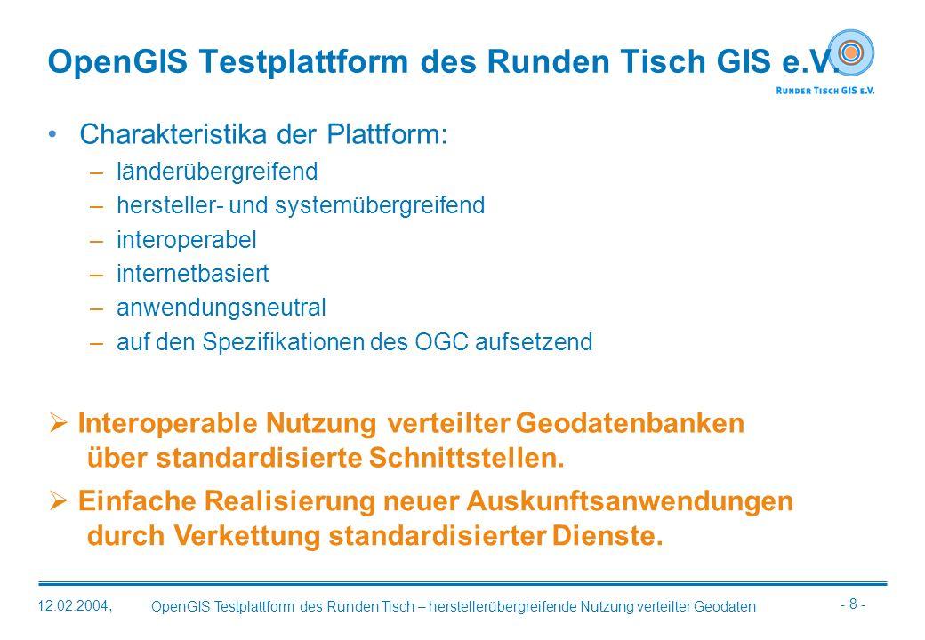 - 19 - OpenGIS Testplattform des Runden Tisch – herstellerübergreifende Nutzung verteilter Geodaten 12.02.2004, Fazit Daten und OGC-konforme Software sind vorhanden.