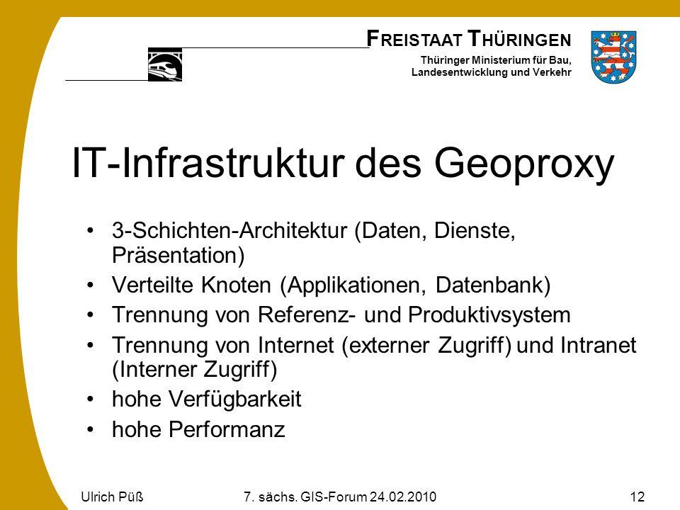 F REISTAAT T HÜRINGEN Thüringer Ministerium für Bau, Landesentwicklung und Verkehr Ulrich Püß7. sächs. GIS-Forum 24.02.201012 IT-Infrastruktur des Geo