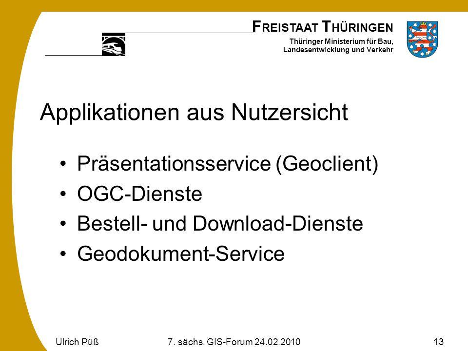 F REISTAAT T HÜRINGEN Thüringer Ministerium für Bau, Landesentwicklung und Verkehr Ulrich Püß7. sächs. GIS-Forum 24.02.201013 Applikationen aus Nutzer