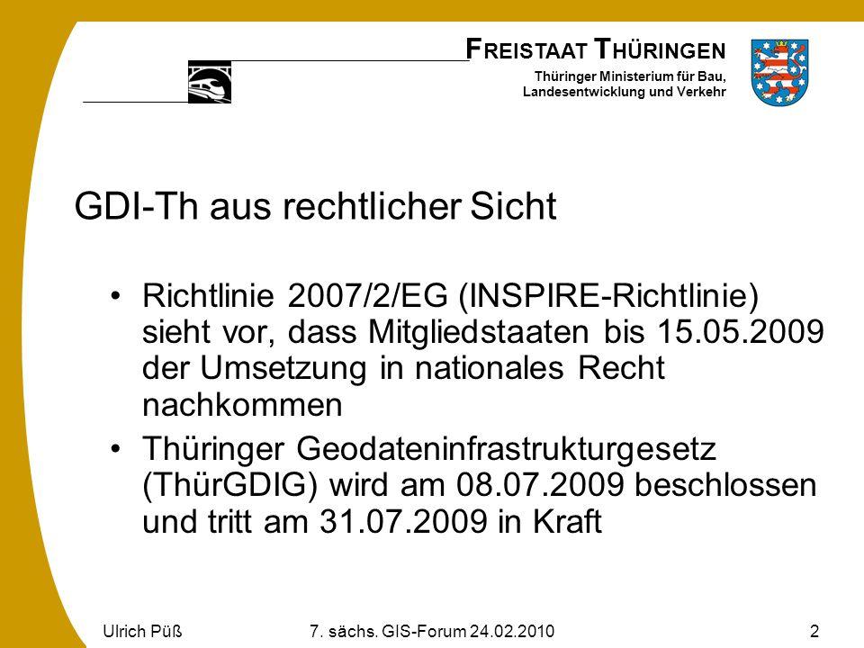 F REISTAAT T HÜRINGEN Thüringer Ministerium für Bau, Landesentwicklung und Verkehr Ulrich Püß7. sächs. GIS-Forum 24.02.20102 GDI-Th aus rechtlicher Si