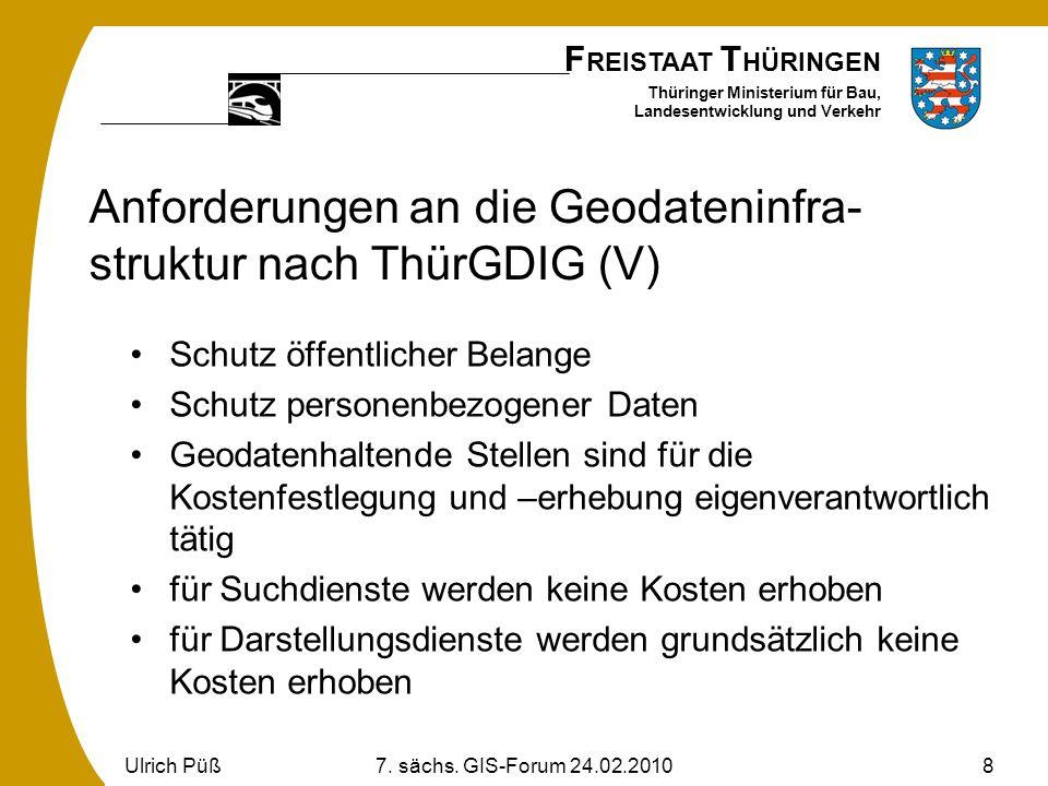 F REISTAAT T HÜRINGEN Thüringer Ministerium für Bau, Landesentwicklung und Verkehr Ulrich Püß7. sächs. GIS-Forum 24.02.20108 Anforderungen an die Geod