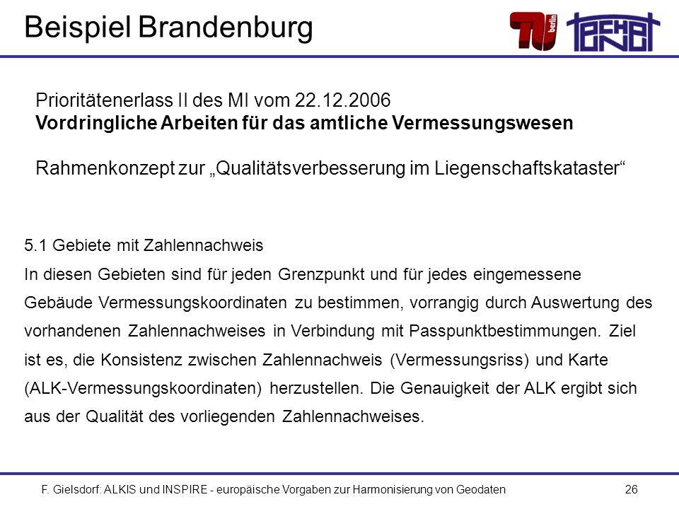 F. Gielsdorf: ALKIS und INSPIRE - europäische Vorgaben zur Harmonisierung von Geodaten26 Beispiel Brandenburg Prioritätenerlass II des MI vom 22.12.20