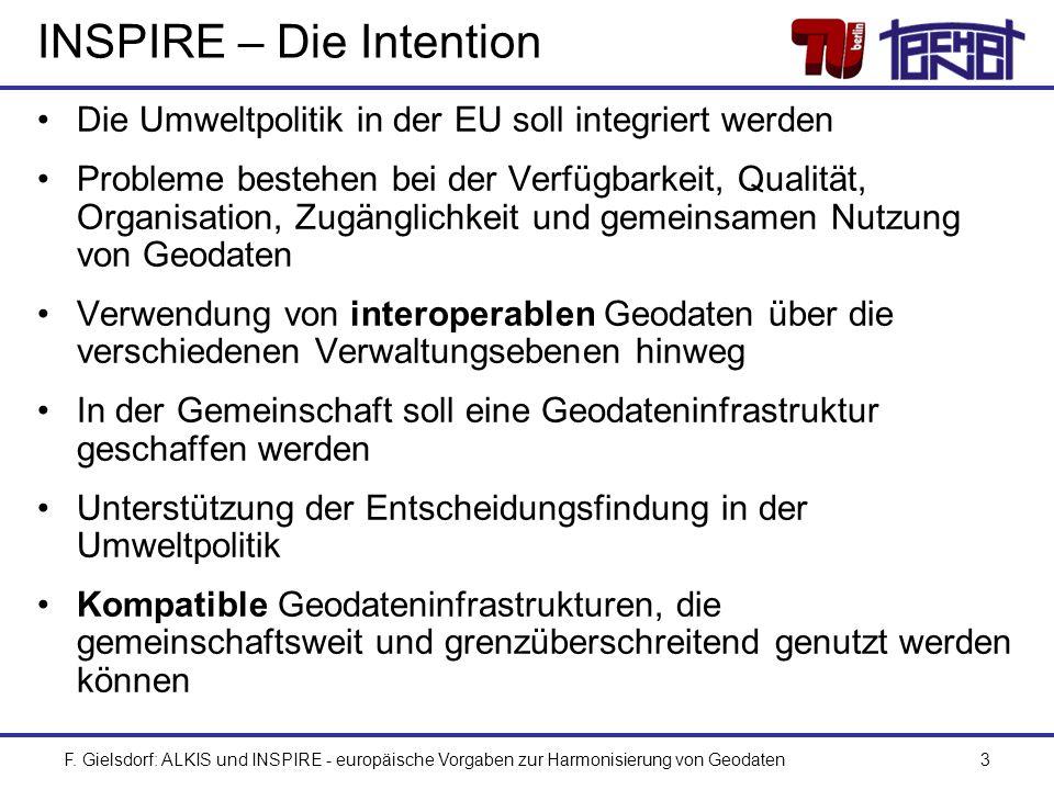 F. Gielsdorf: ALKIS und INSPIRE - europäische Vorgaben zur Harmonisierung von Geodaten3 INSPIRE – Die Intention Die Umweltpolitik in der EU soll integ