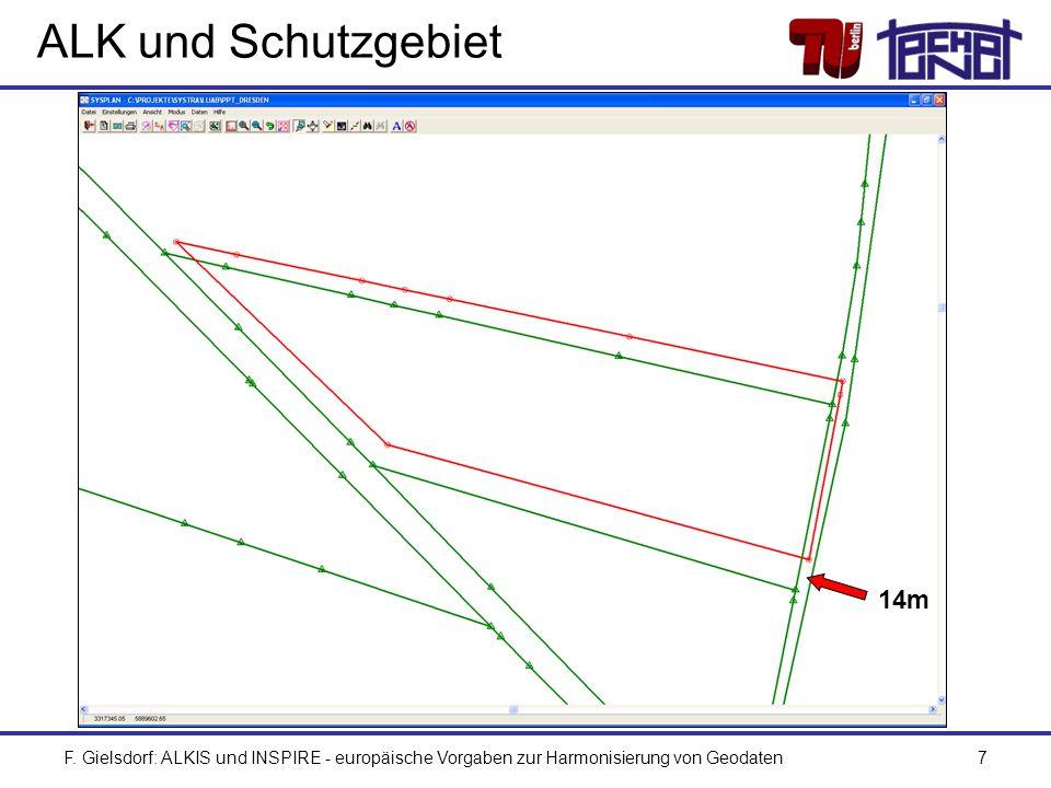 F. Gielsdorf: ALKIS und INSPIRE - europäische Vorgaben zur Harmonisierung von Geodaten7 ALK und Schutzgebiet 14m