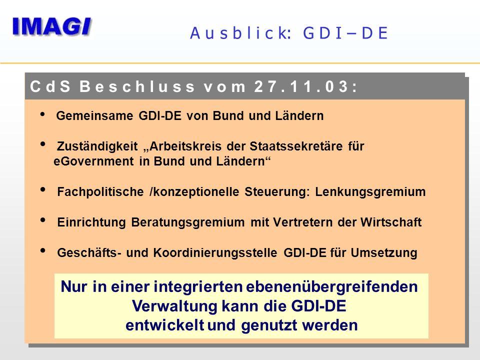 A u s b l i c k: G D I – D E C d S B e s c h l u s s v o m 2 7. 1 1. 0 3 : Gemeinsame GDI-DE von Bund und Ländern Zuständigkeit Arbeitskreis der Staat