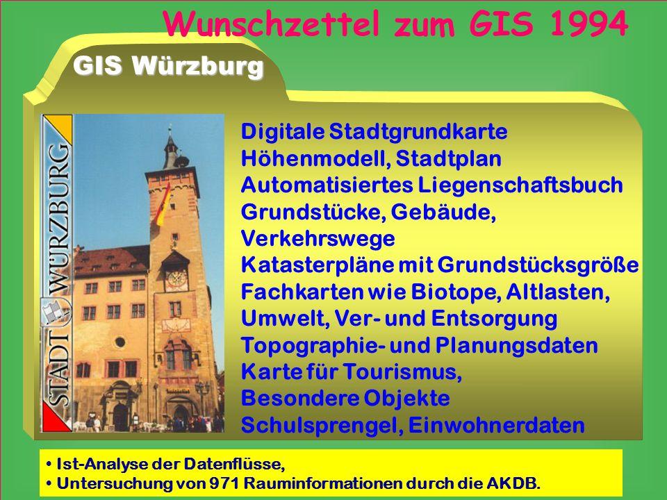GIS Würzburg Digitale Stadtgrundkarte Höhenmodell, Stadtplan Automatisiertes Liegenschaftsbuch Grundstücke, Gebäude, Verkehrswege Katasterpläne mit Gr