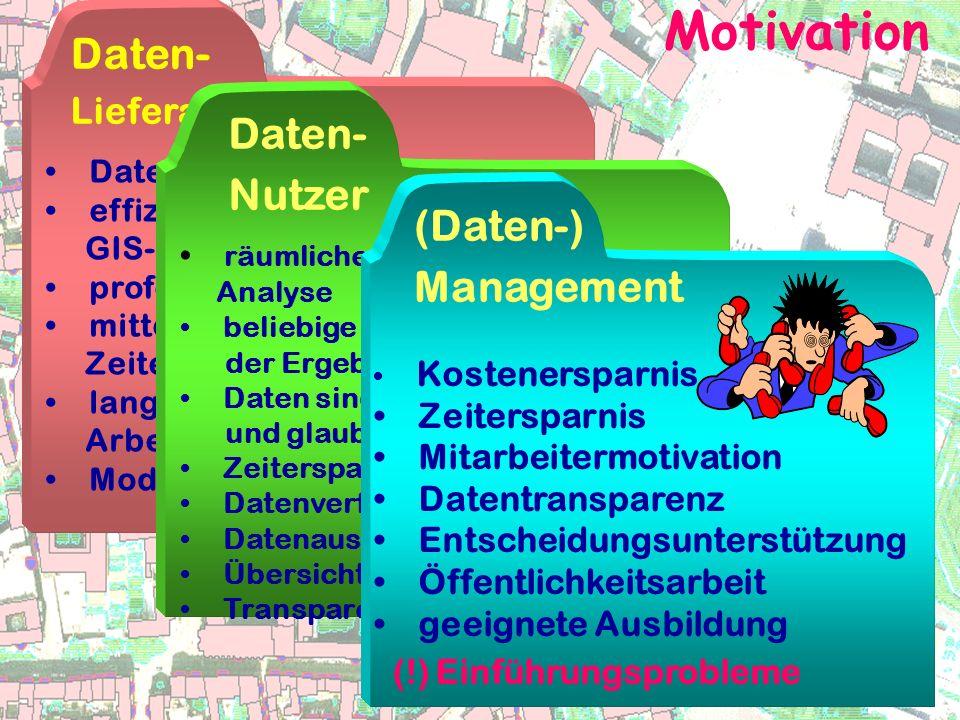 Motivation Daten- Lieferanten Datenkompatibilität effizientes Datenhandling durch GIS-Struktur professionelle Datendarstellung mittelfristig Zeiterspa