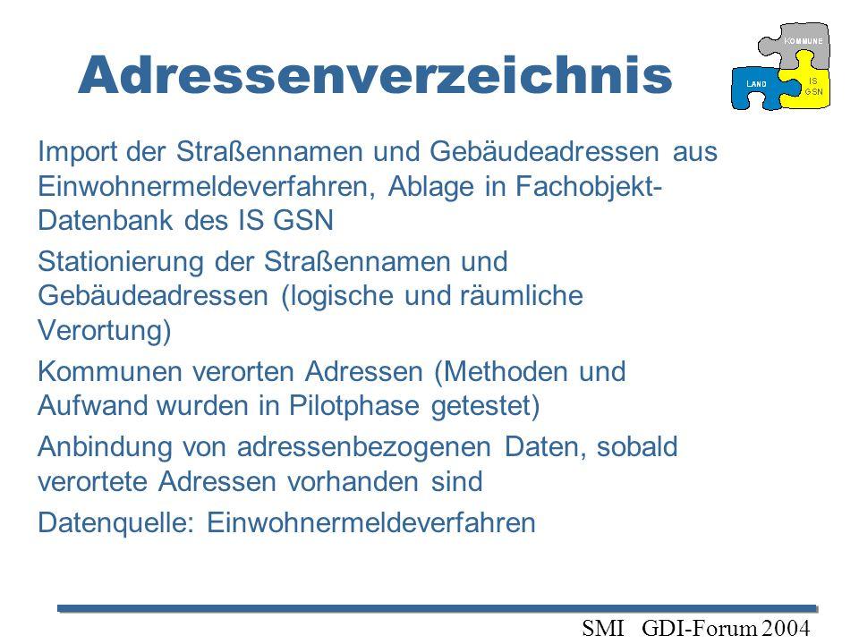 Adressenverzeichnis Import der Straßennamen und Gebäudeadressen aus Einwohnermeldeverfahren, Ablage in Fachobjekt- Datenbank des IS GSN Stationierung